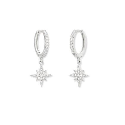 Silver zircona star earrings
