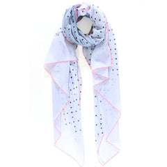 Light Blue polka dot scarf with neon trim