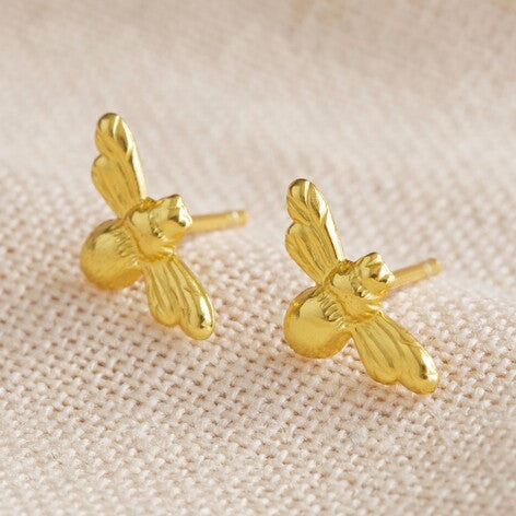 Bumble Bee gold sterling silver earrings