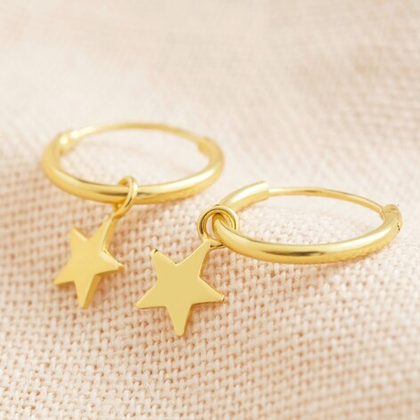 Tiny star hoops earrings in gold