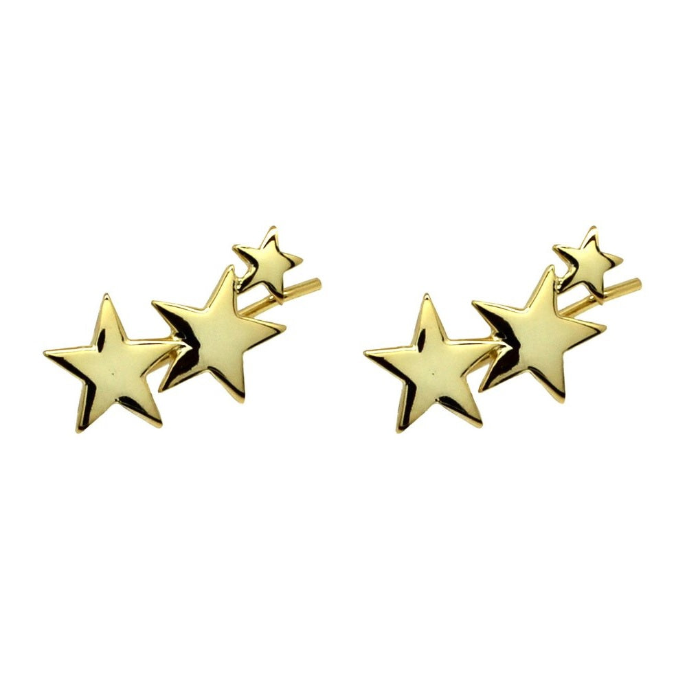 Gold 3 Star earrings