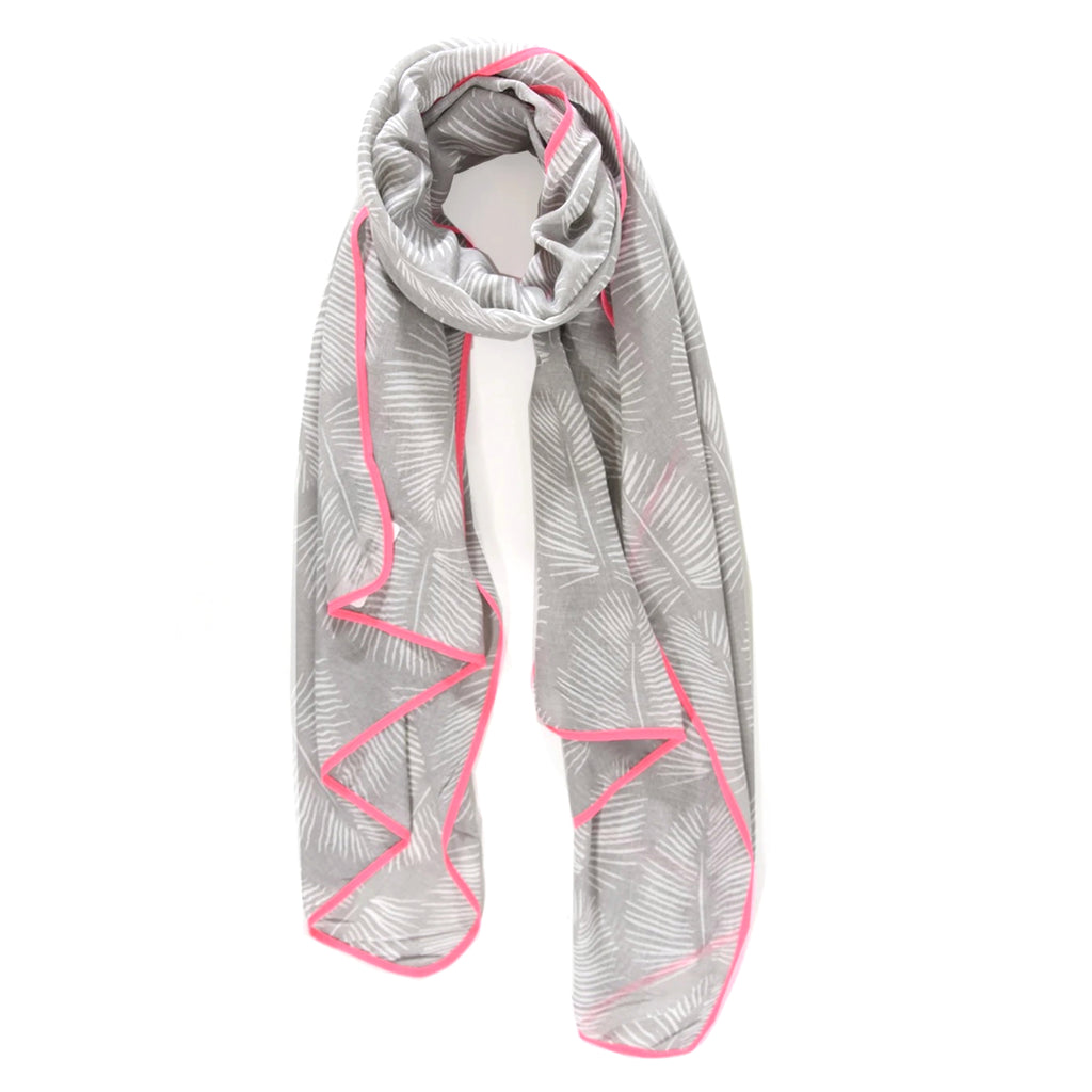 Grey Palm Leaf print scarf with neon pink trim