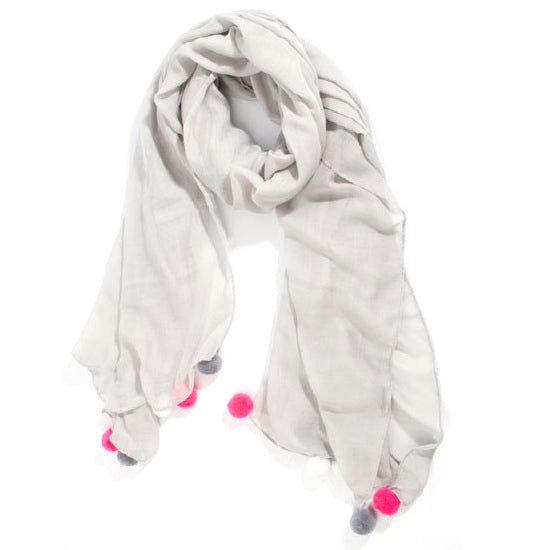 Grey Scarf with large pink pompoms