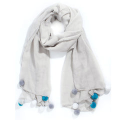 Grey Scarf with large bright turquoise and grey pompoms