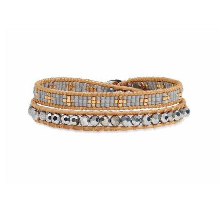 Grey Gold Wrap Bracelet