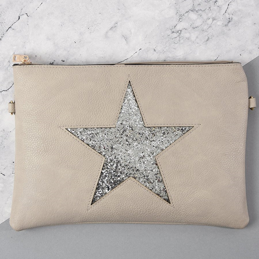 Light grey & glitter star clutch