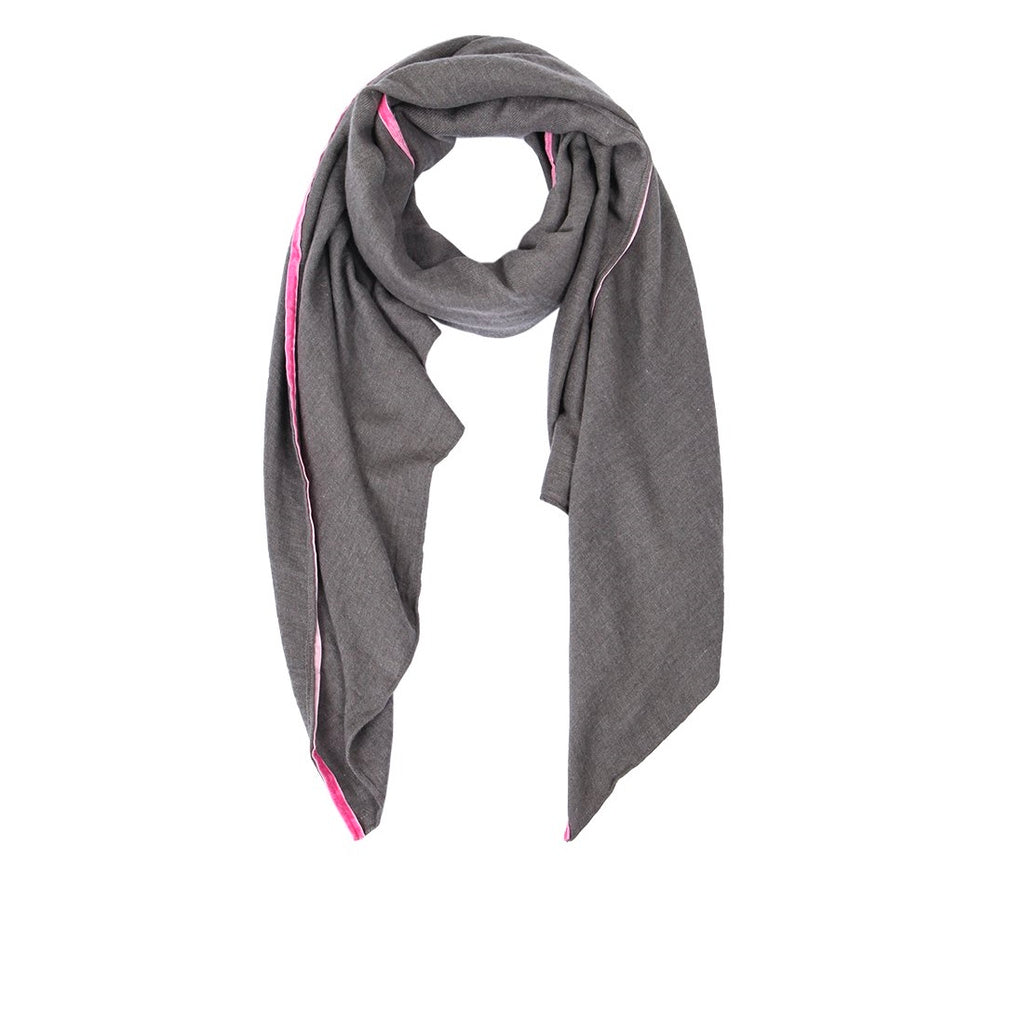 Dark Grey scarf with fuschia boarder