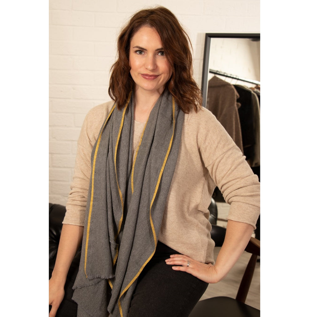 dark grey scarf with mustard boarder WAS £22 NOW £15