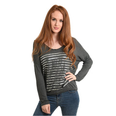 Dark grey Jumper with metallic silver stripes