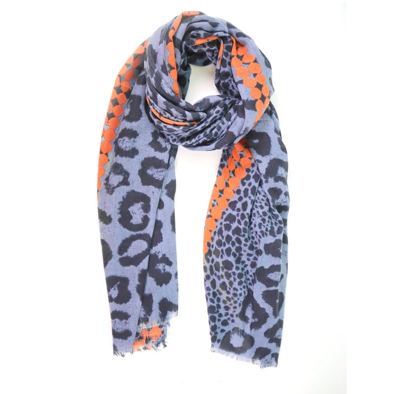 Navy leopard print scarf with orange dots