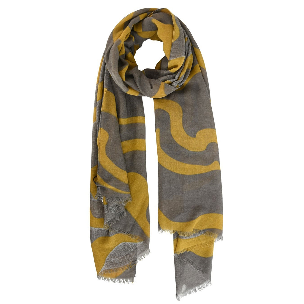 Dark Grey scarf with mustard abstract stripe scarf