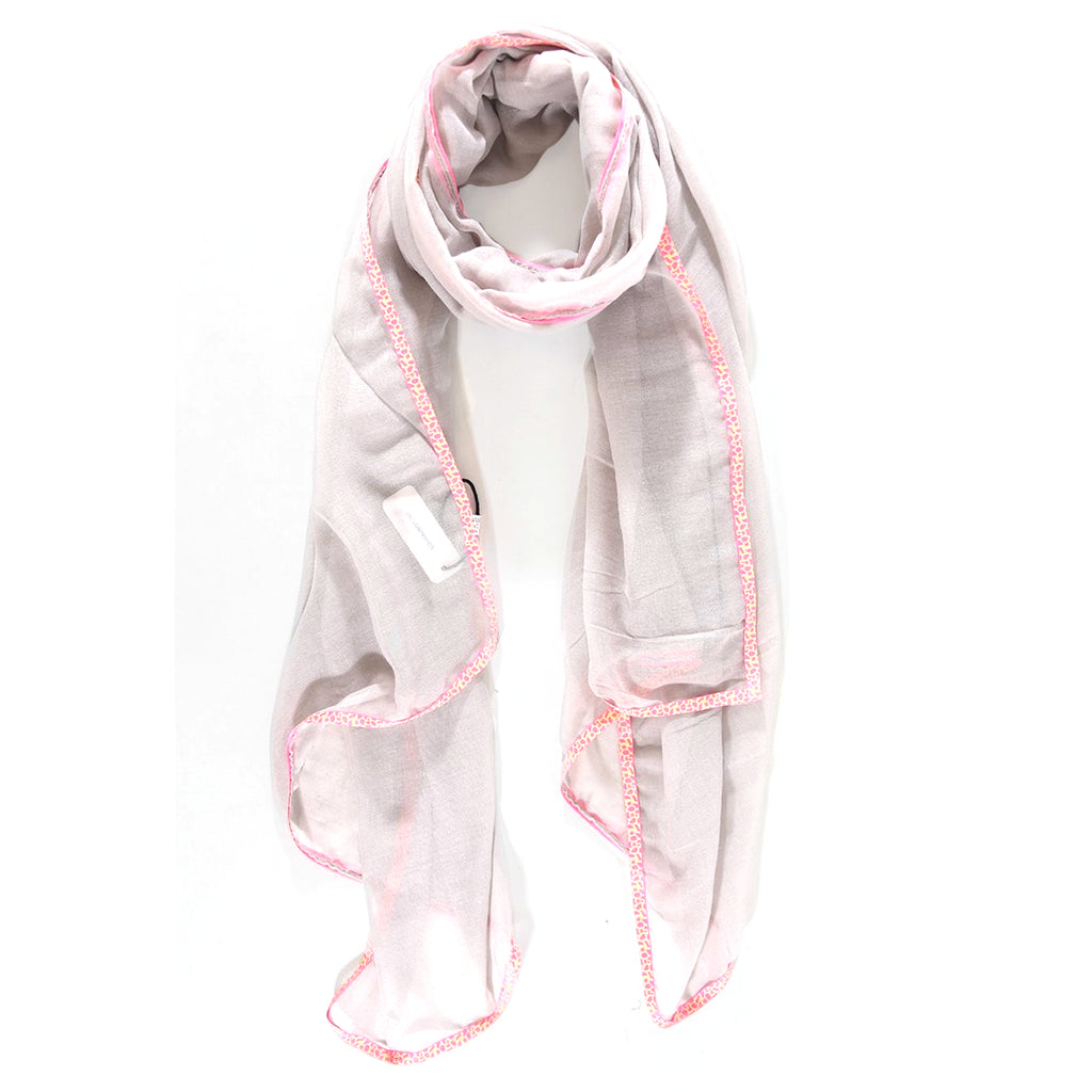 Light Grey scarf with neon pink animal print trim