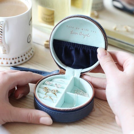 Navy Round Jewellery Box