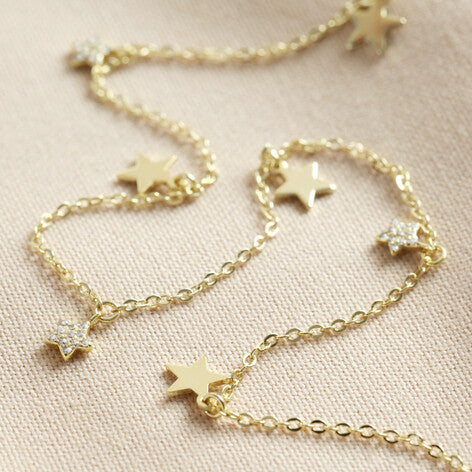 Tiny crystal star charm necklace