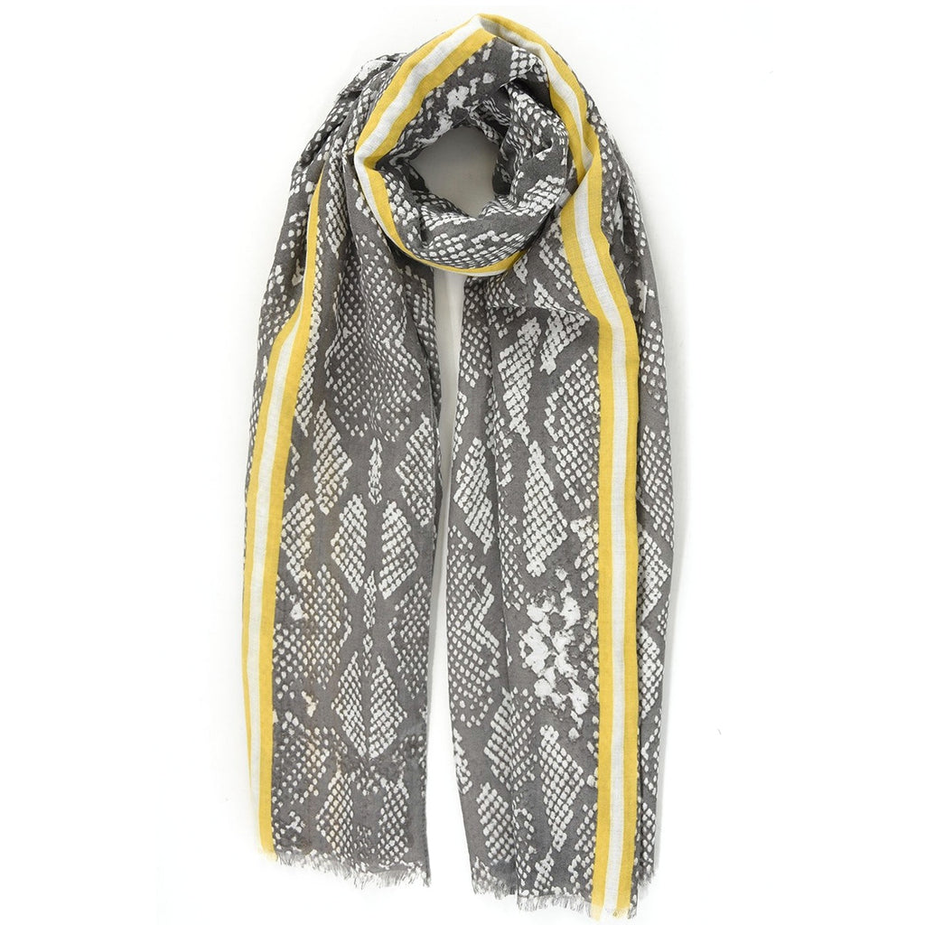 Grey Snakeskin Print with Mustard Stripe Scarf