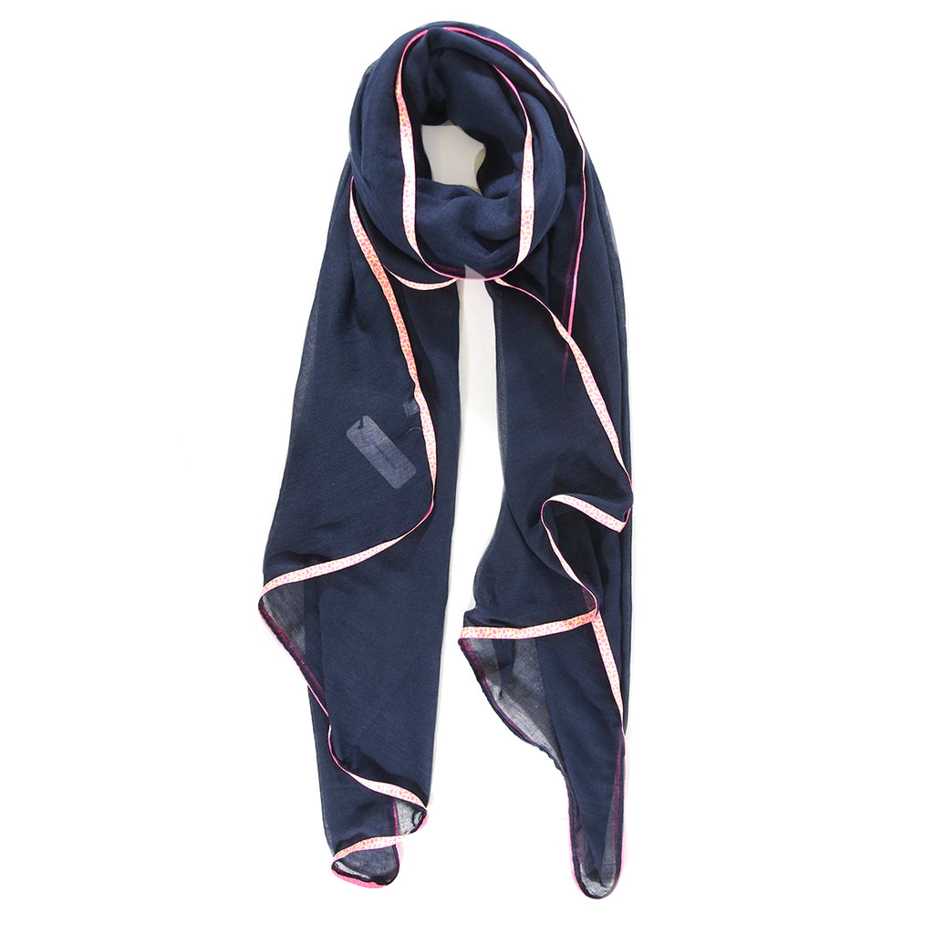 Navy blue scarf with neon pink animal print trim