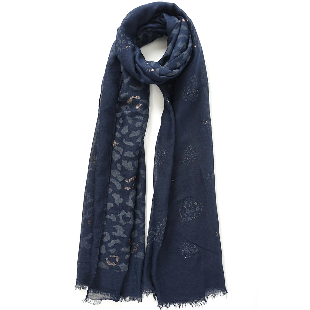 Navy scarf with rose gold leopard print
