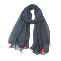 Navy Blue Scarf with large pink and grey pompoms