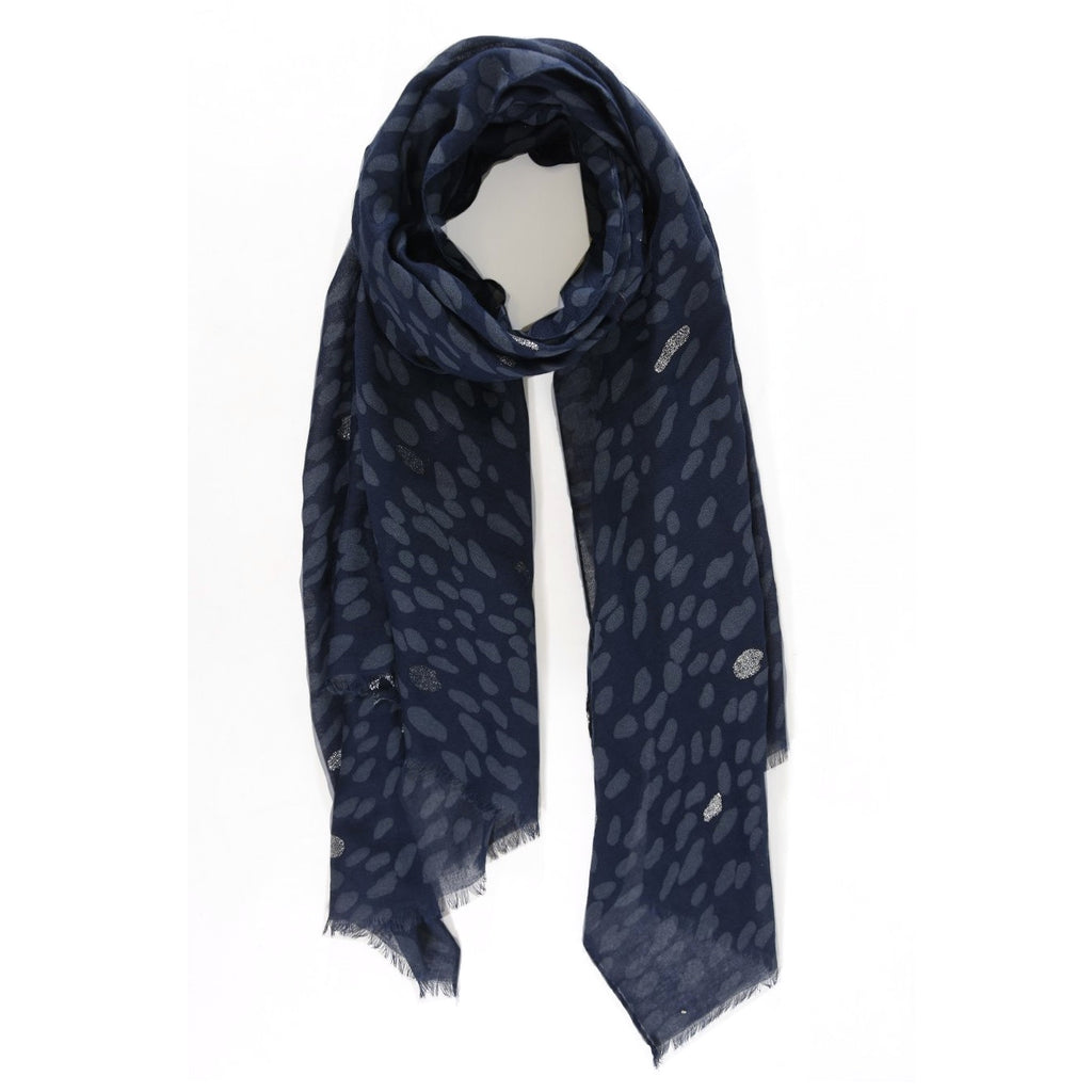 Navy blue and silver animal spot scarf