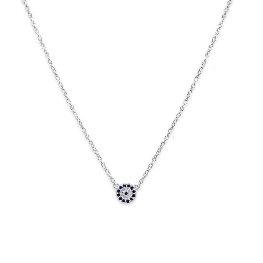 silver/navy disc necklace