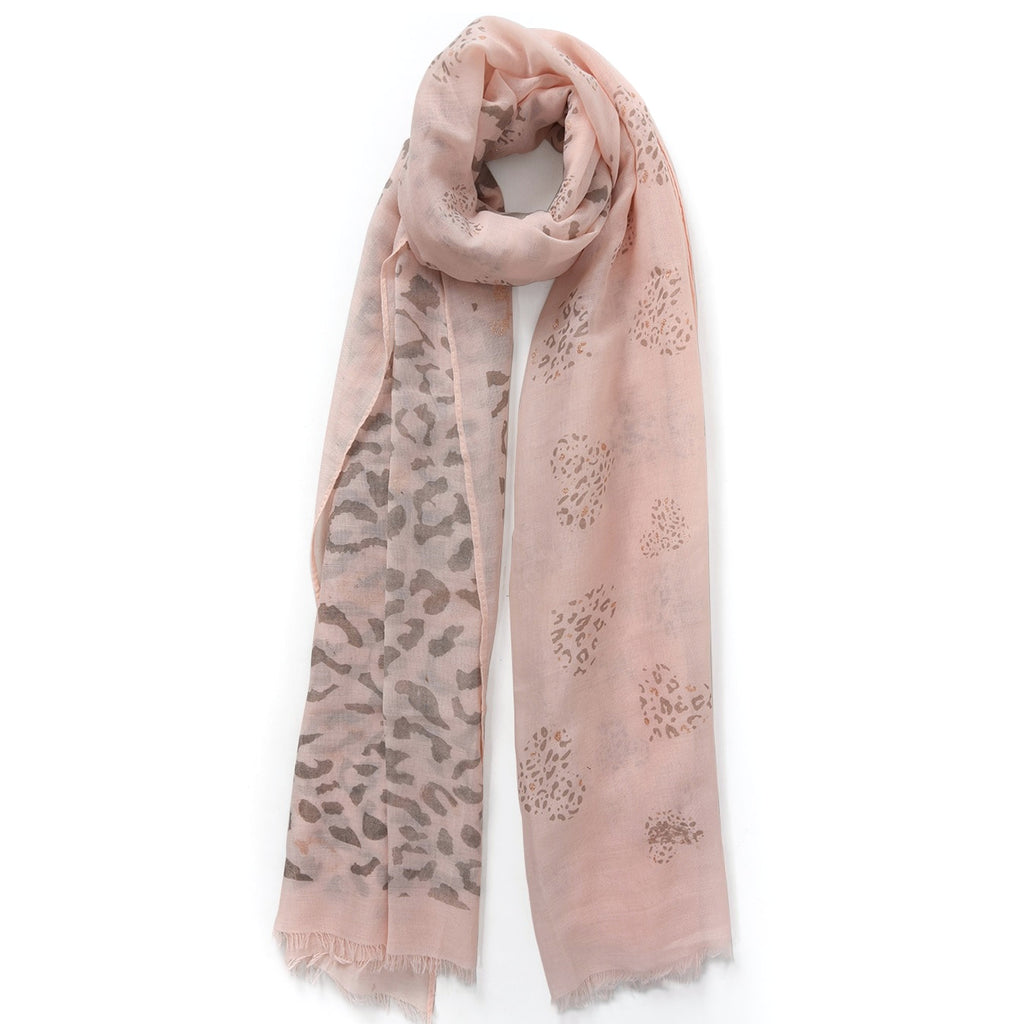 Dusty pink  scarf with rose gold leopard print