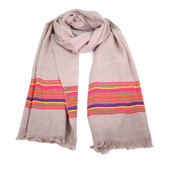 Hand woven woollen scarf with colourful edge
