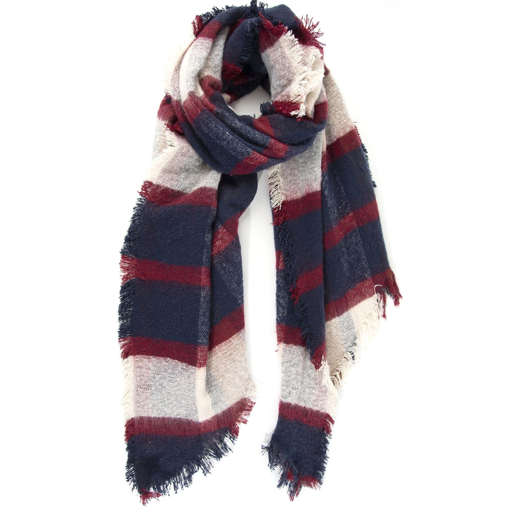 Navy & Red Checked Blanket scarf