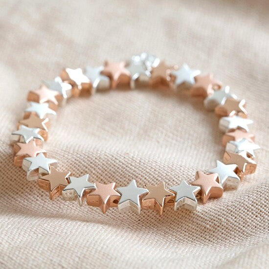 Silver and Rose Gold Star stretch bracelet