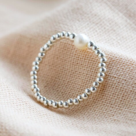Silver Bead and Freshwater pearl stretch ring