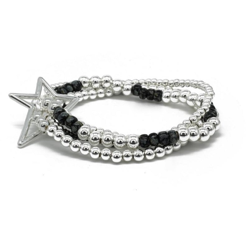 4 layered silver & black stack with star fastening bracelet