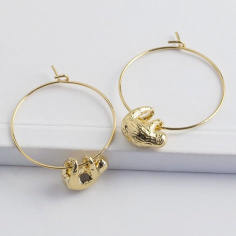 Sloth Hoop Earrings in Gold