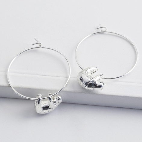 Sloth Hoop Earrings in Silver