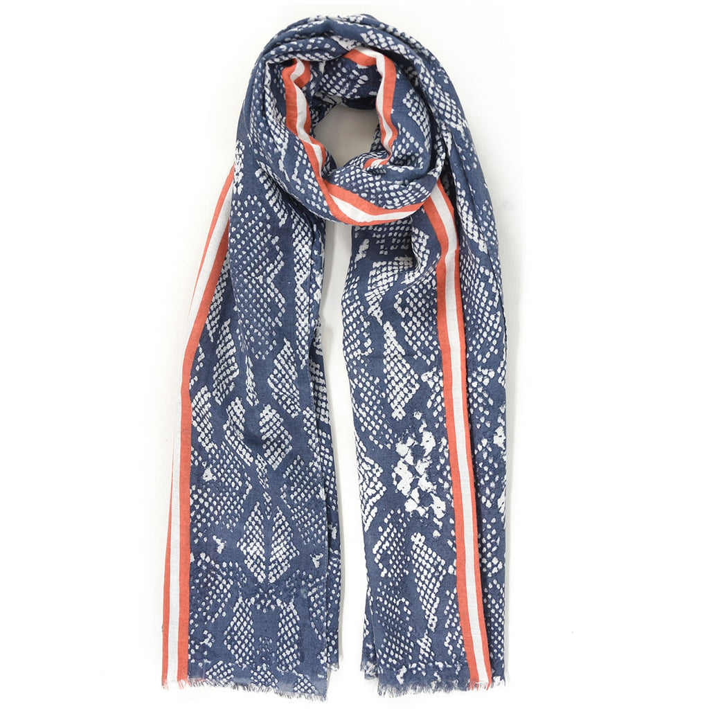 Blue Snakeskin Print with Orange Stripe Scarf