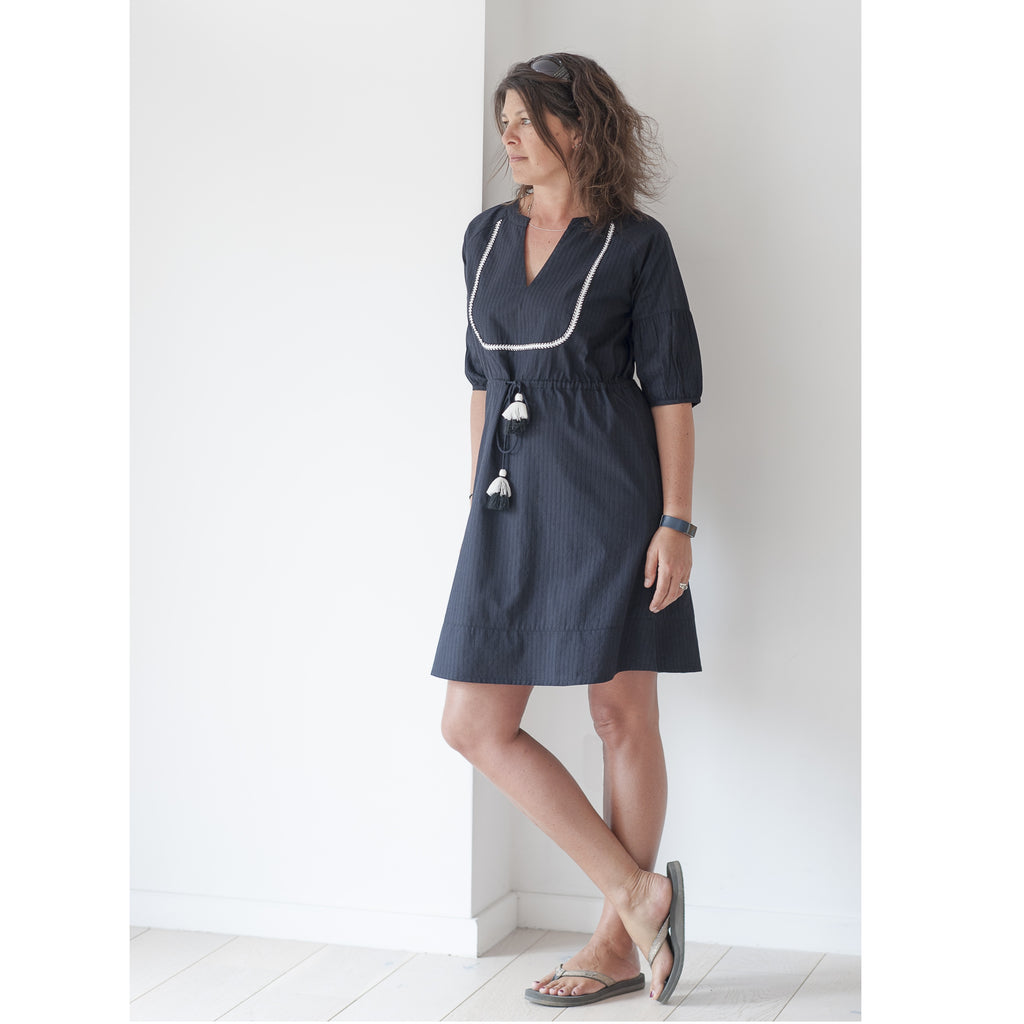 Black bibbed dress / kaftan