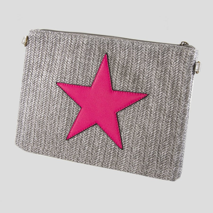 Grey & Neon Pink star rattan clutch