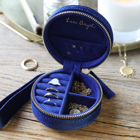 Starry Velvet Round Jewellery Case in Navy