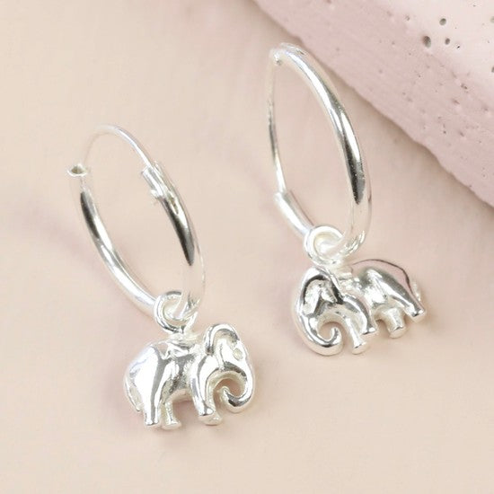 Sterling Silver Elephant Hoop Earrings