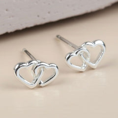 Interlocking heart stud earrings