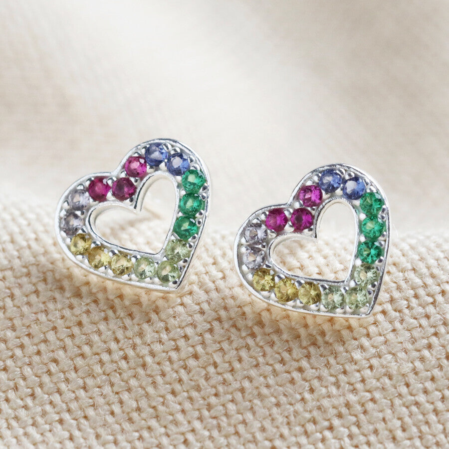 Sterling Silver Rainbow gem heart studs