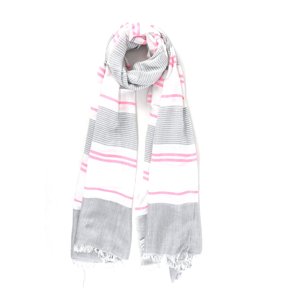 Grey and White scarf with fuchsia Stripes Scarf