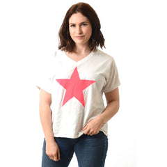 White T-shirt with neon pink star