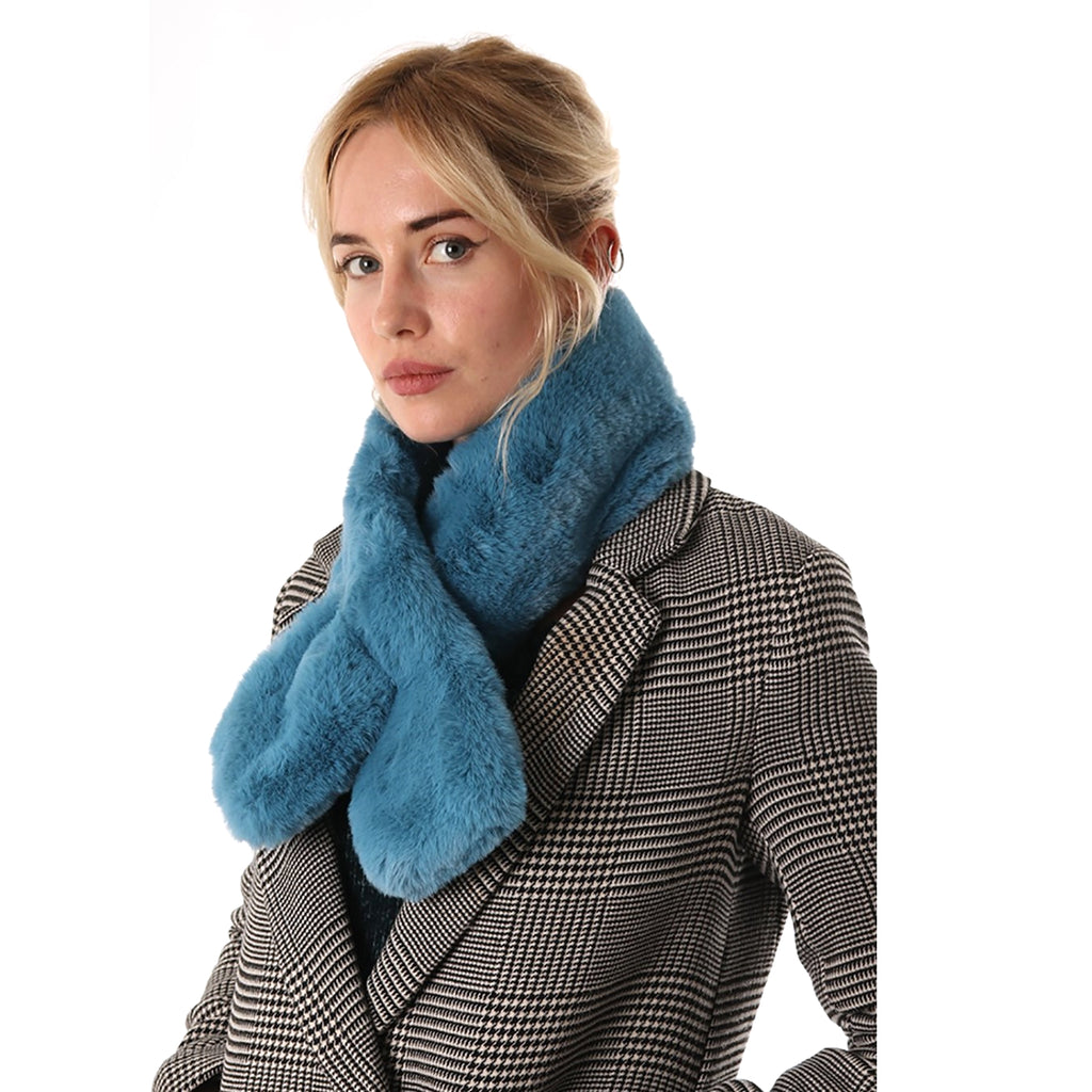 Petrol Blue Faux fur collar