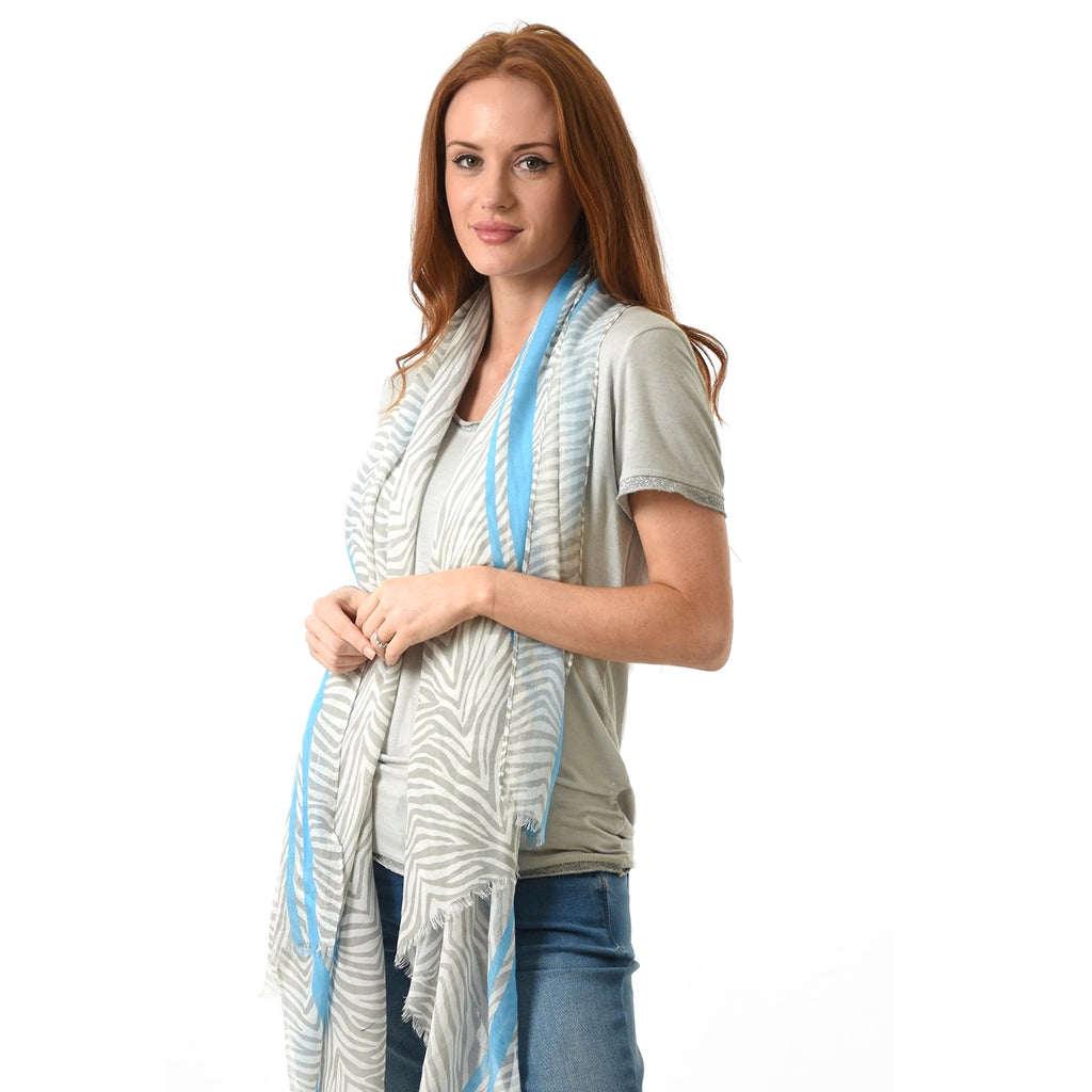 Light Grey Zebra scarf with bright blue stripe