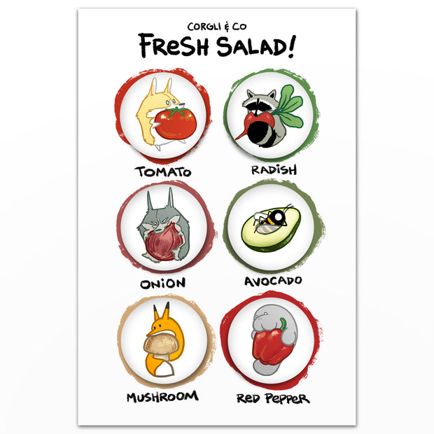 Fresh Salad Magnet Set