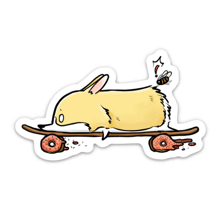 Corgli riding on a donut skateboard with Winzor!