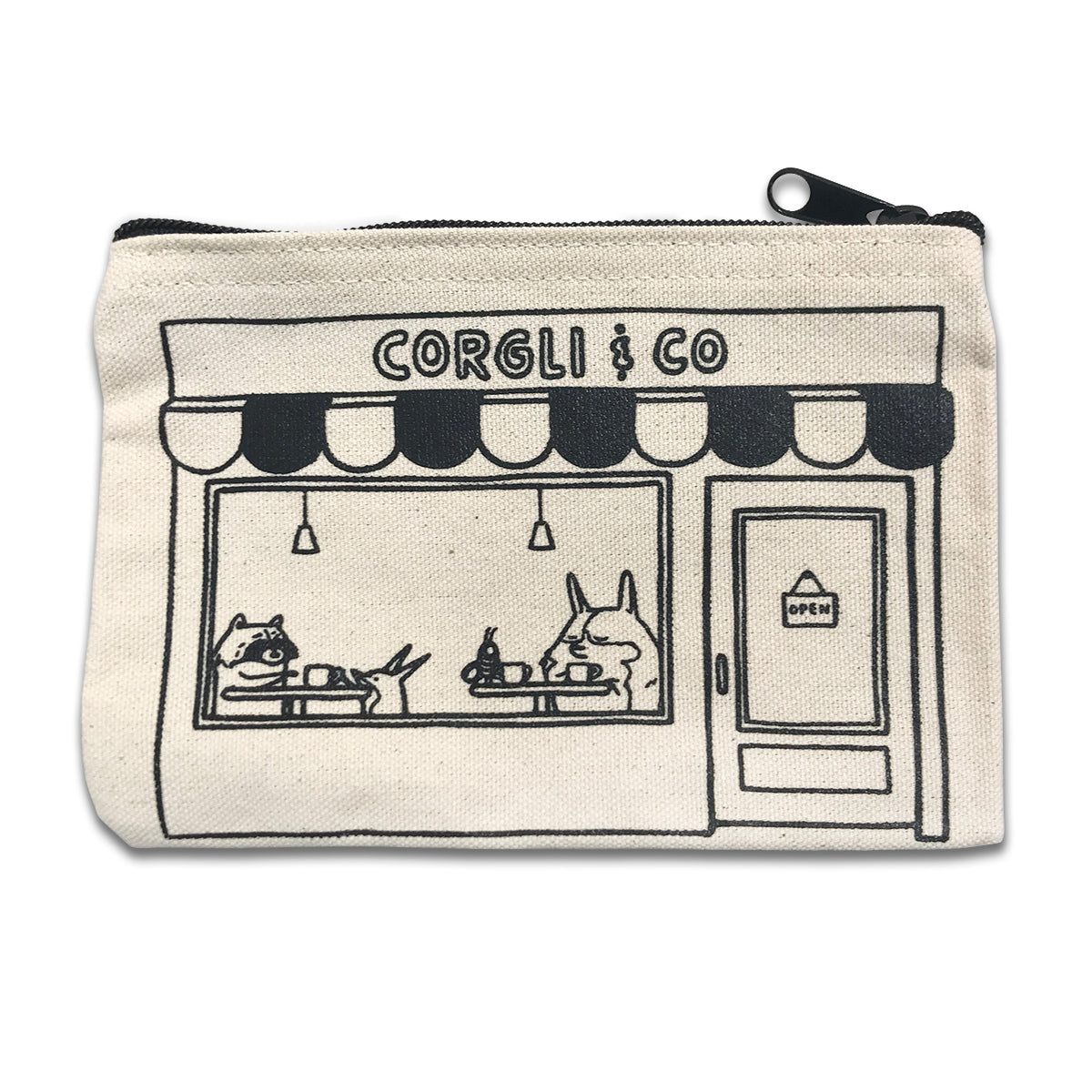 Corgli & Co Cafe zipper pouch.