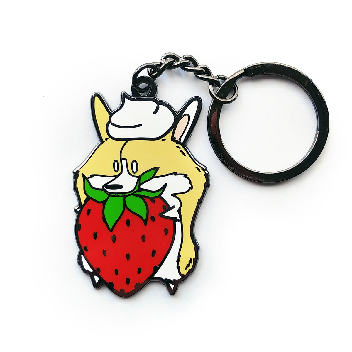 Strawberries & Cream Keychain.
