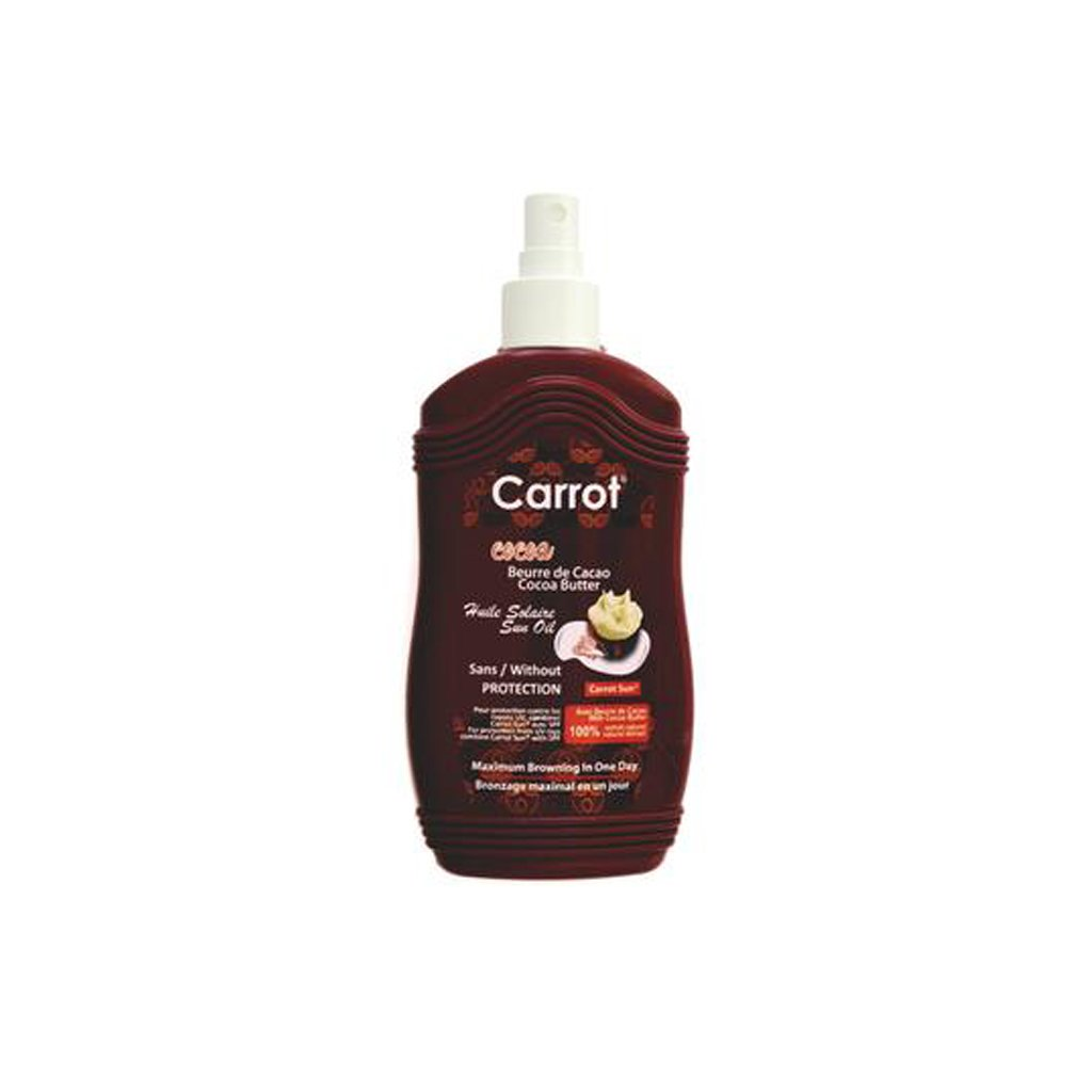 Carrot Sun Tanning Oil Sans/Without Protection - Cocoa Butter - 200ml