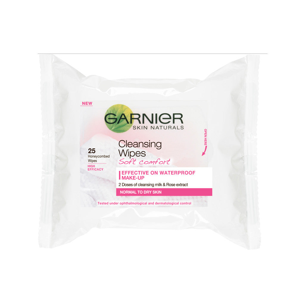 Garnier - Cleansing Wipes Normal to Dry Skin Makeup Remover Wipes - 25 Wipes - brandstoreuae