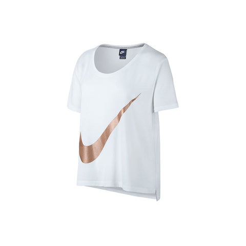 NIKE White Polyster Round Neck T-Shirt